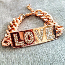 "Load image into Gallery viewer, Rose Gold ""Love"" Chain Link Bracelet & Rhinestones"