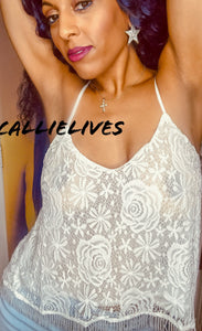 Callie Open: Criss Cross Strappy Camisole Lace Top - callielives