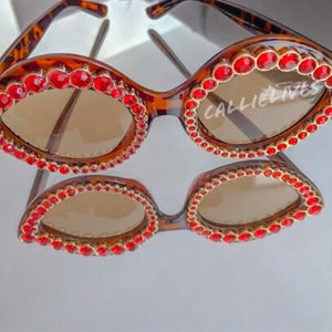 Stasia Cat eye Brown Frames with Ruby Rhinestones - callielives
