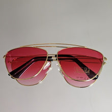Load image into Gallery viewer, Gold Frame Sunglasses with Red Ombre Colored Lens - callielives
