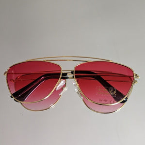 Gold Frame Sunglasses with Red Ombre Colored Lens - callielives
