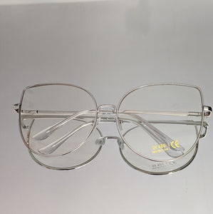 Cat Style Oversized Silver Clear Glasses - callielives