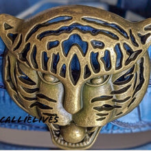 Load image into Gallery viewer, Teal Blue Gold Tiger Head Statement Cinch Belt OS - callielives
