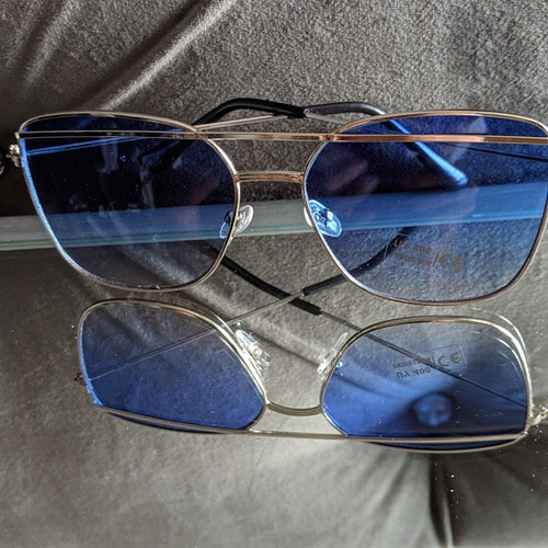 Silver Frame Sunglasses with Blue Colored Lens