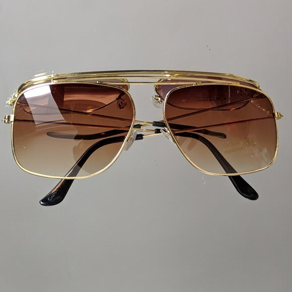 Gold Frame Sunglasses with Brown Colored Lens