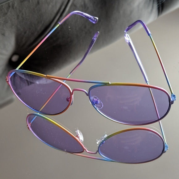 3a97a0350517 Load image into Gallery viewer, Rainbow Aviators Frame Purple Tint  Sunglasses ...