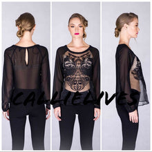 Load image into Gallery viewer, Callie Organza: Long Sleeve Sheer Chiffon Top