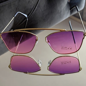 Gold Frame Sunglasses with Magenta Colored Lens - callielives