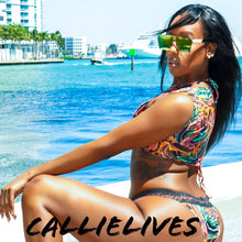 Load image into Gallery viewer, Callie Vested Jungle: 3PC String Metallic Bikini - callielives