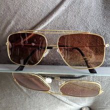 Load image into Gallery viewer, Gold Frame Sunglasses with Brown Colored Lens