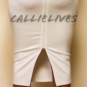 Callie Cross: White Scuba Slimfit Bodycon Dress - callielives