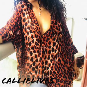Elaine in the Wild: Leopard Sheer cape Button Top - callielives
