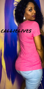 Stasia Neon: Pink VNeck Extra Long T-Shirt Top - callielives