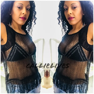 Callie Black Fringe: Sleeveless Mesh Sheer Top