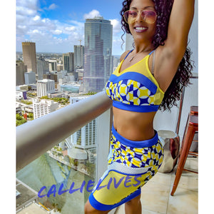 Stasia Geo Yellow: Mesh Bralette CropTop Skirt Set - callielives