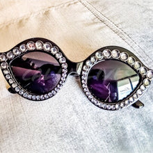 Load image into Gallery viewer, Xena Cat eye Black Frames w/white Rhinestones - callielives