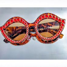Load image into Gallery viewer, Stasia Cat Eye Tortoise Frames with Ruby Rhinestones, Accessories, CallieLives