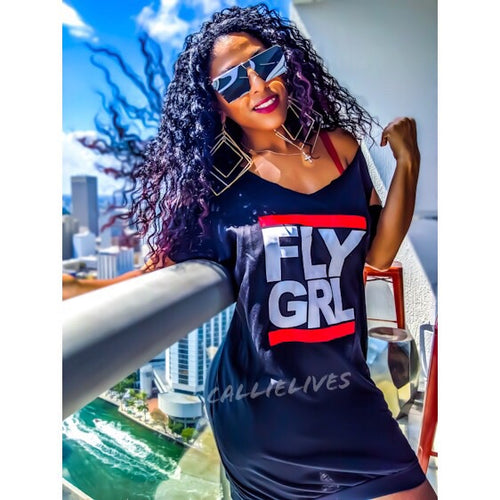 MIZ Fly Girl Custom Cut Black RUNDMC T-Shirt Dress - callielives