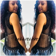 Load image into Gallery viewer, Callie Black Fringe: Sleeveless Mesh Sheer Top