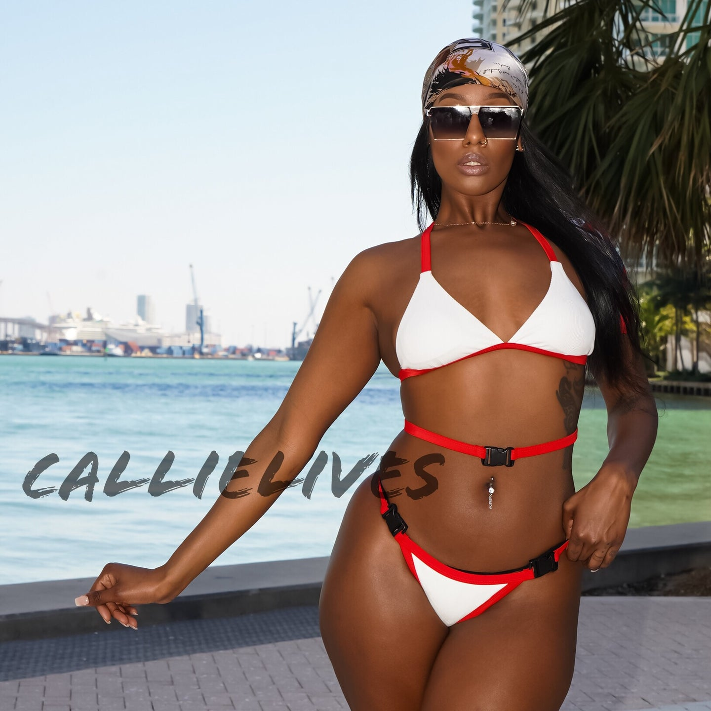 Stasia Snapped: White Red Triangle Harness Bikini - callielives