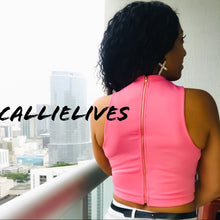 Load image into Gallery viewer, Stasia Herringbone: Gold Trim Mesh Pink Crop Top - callielives