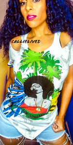Miz Afro Punk: Rasta Chic White Green Red Bling, [product_type], CallieLives
