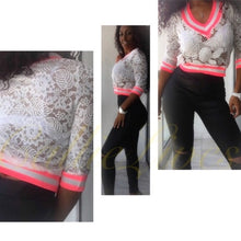 Load image into Gallery viewer, Stasia Neon: Pink Gray Stripe Lace VNeck Cardigan - callielives