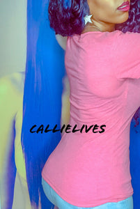 Callie Rose: Pink VNeck Extra Long T-Shirt Top - callielives