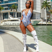 Load image into Gallery viewer, Callie Peacock: White Blue Feather Fringe Monokini