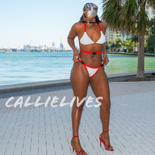Load image into Gallery viewer, Stasia Snapped: Santa Baby Red & White Triangle Harness Bikini, Swimwear, CallieLives