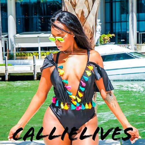 Callie Fiesta: Rainbow Tassel Deep Plunge Swimsuit - callielives