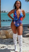 Load image into Gallery viewer, Callie Vintage: Abstract Blue Print Plunge 1-piece, Swimwear, CallieLives