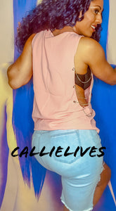 Callie Side Chain: Loose Pink Silver Tank Top, Tops, CallieLives
