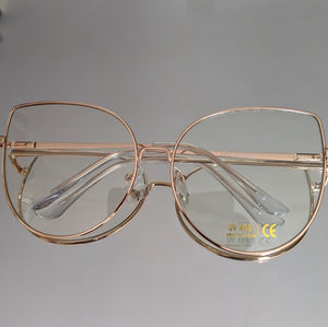 Oversized Rose Gold Clear Glasses - callielives