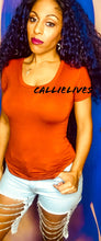 Load image into Gallery viewer, Callie Rust: Burnt Orange Scoop Top RAYON T-Shirt - callielives