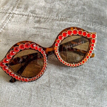 Load image into Gallery viewer, Stasia Cat eye Brown Frames with Ruby Rhinestones - callielives