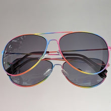Load image into Gallery viewer, Rainbow Aviators Frame and Black Clear Lens - callielives