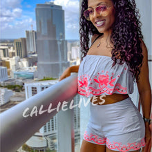 Load image into Gallery viewer, Stasia Neon LeFleur: Gray Ruffle Bandeau Short Set - callielives