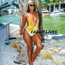 Load image into Gallery viewer, Callie Golden Velvet: Mustard Deep Plunge Swimsuit - callielives
