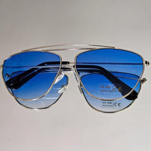 Load image into Gallery viewer, Silver Frame Sunglasses w/ Blue Ombre Colored Lens