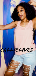 Callie Side Chain: Loose Pink Silver Tank Top - callielives