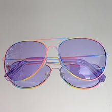 Load image into Gallery viewer, Rainbow Aviators Frame Purple Tint Sunglasses - callielives