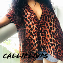 Load image into Gallery viewer, Elaine in the Wild: Leopard Sheer cape Button Top - callielives