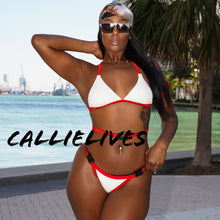 Load image into Gallery viewer, Stasia Snapped: White Red Triangle Harness Bikini - callielives