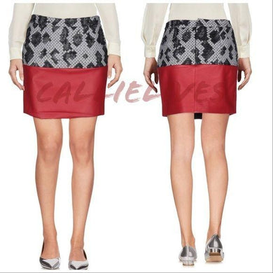 Callie Lamb Balenciaga Red Leather Wool Mini Skirt, Shorts and Skirts, CallieLives