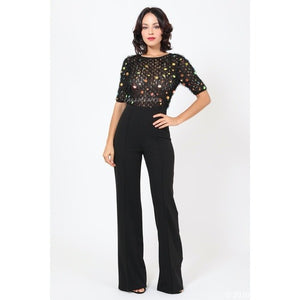 Callie Coin: Feathered Sequin Furry Knit Jumpsuit