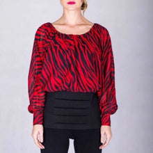 Load image into Gallery viewer, Elaine the Wild: Zebra Print Boatneck Work Blouse, Tops, CallieLives