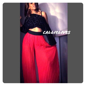 Sheer palazzo pant Sheer pleats CALLIELIVES - callielives