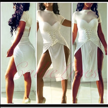 Load image into Gallery viewer, Callie White: Mesh Laced Dress Break Away Splits - callielives