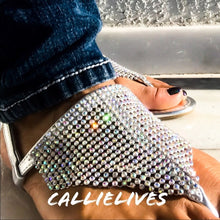 Load image into Gallery viewer, Callie RHINESTONE Sandal Diamond Silver Thong